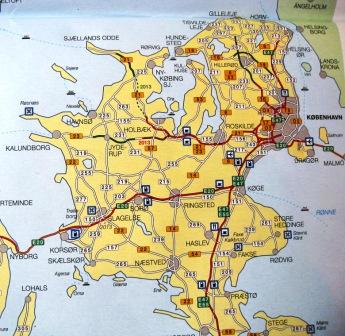 Kort over Sjælland